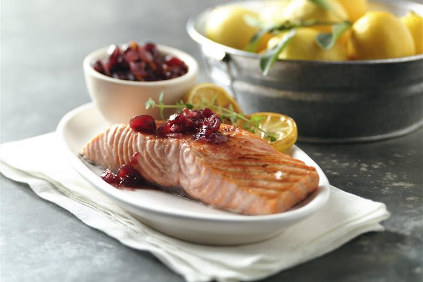 Grilled Salmon with Five Spice Cranberry Relish